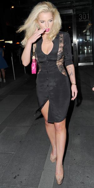 Helen Flanagan celebrates 23rd birthday in Agent Provocateur dress in Manchester, 10 August 2013