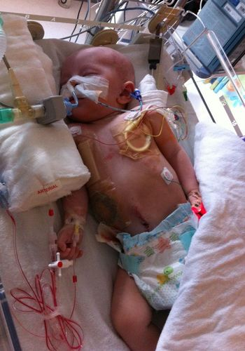 Baby Maison in hospital receiving treatment
