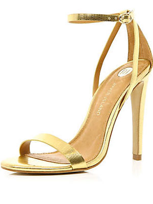 River Island gold strappy sandals, £45