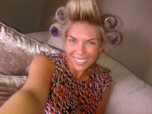 Frankie Essex goes without make-up and wears her hair in rollers - 7 August 2013