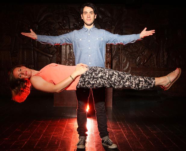 Pete Firman levitates Reveal's Showbiz Editor Rosalind SackReveal use only