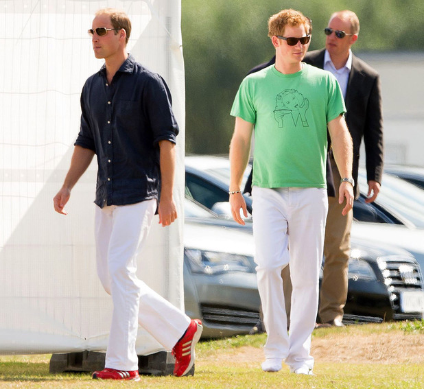 Prince William and Prince Harry compete in a charity polo match at Ascot, Berkshire. 3 Aug 2013