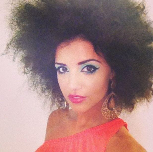 Lucy Mecklenburgh wears her hair in an Afro, with 70s disco make-up for Select Model shoot, 7 August 2013