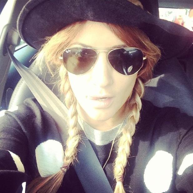 Caroline Flack pigtail braids Instagram on Wednesday (7 August)