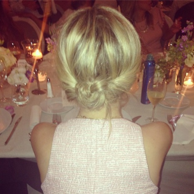 Laura Whitmore shows off the back of her French Knot hairdo, Instagram, 5 August 2013