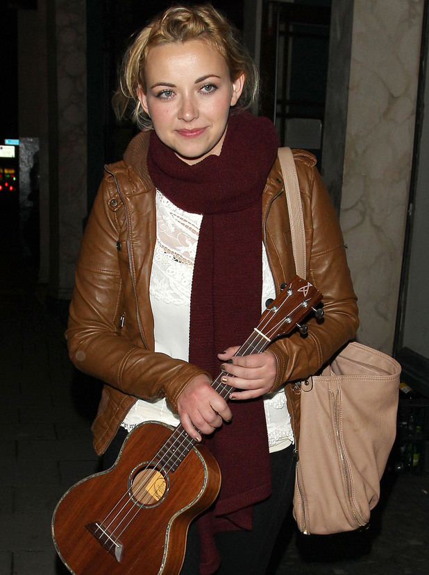 Charlotte Church leaving the Water Rat bar carrying a ukulele after her gig London, England - 24.09.12