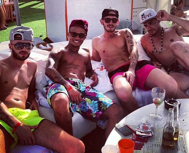 Aston Merrygold, Louis Smith, JJ Bird at Ocean Beach Ibiza