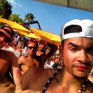 Aston Merrygold and Louis Smith at Ocean Beach Ibiza