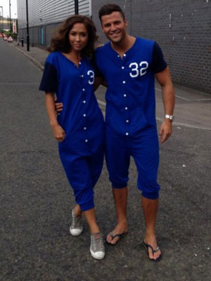 Mark Wright and Myleene Klass in matching blue onesies on Littlewoods set, 9 August 2013
