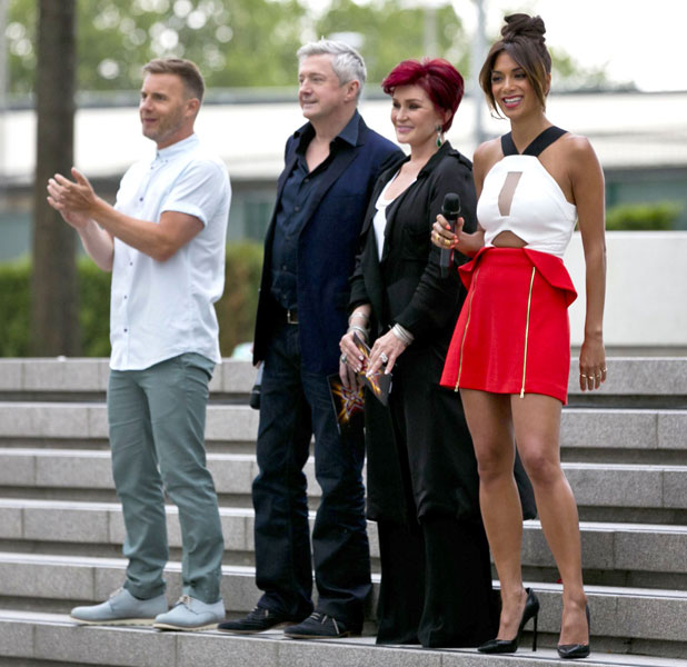 'The X Factor' TV programme bootcamp, London, Britain: Louis Walsh, Sharon Osbourne, Nicole Scherzinger and Gary Barlow, 08 Aug 2013