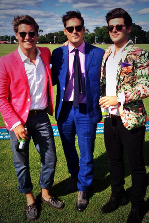 Made In Chelsea's Stevie Johnson, Alex Mytton and Spencer Matthews at the polo