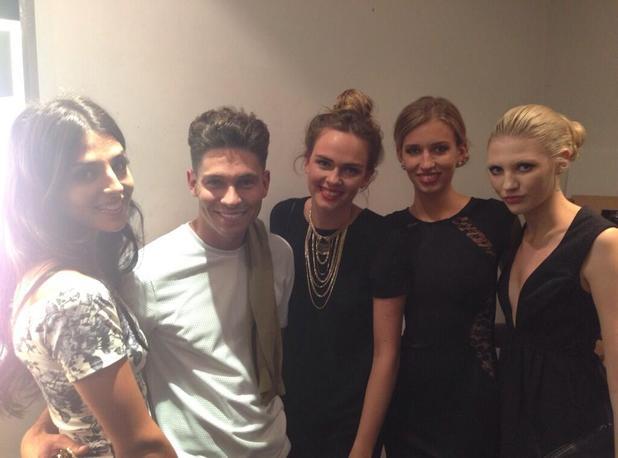 Britain & Ireland's Next Top Model girls Sophie Ellson, Naomi Pelkiewicz, Saffron Williams, Emma Ward meet Joey Essex at We're The Millers film premiere - 14 August 2013