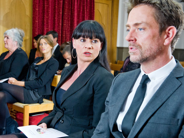 Emmerdale, Chas confronts Cameron at Gennie's funeral, Thu 15 Aug