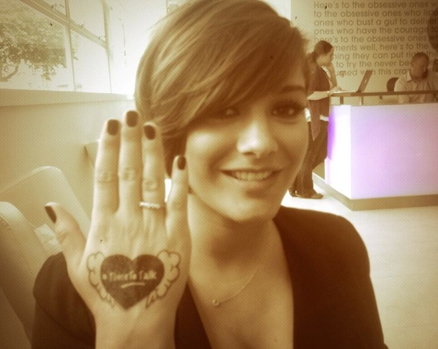 Frankie Sandford shows off a Time To Talk tattoo for Mind's campaign Time To Change - 15 August 2013