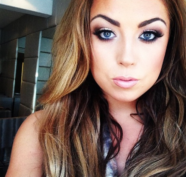 Abi Clarke of TOWIE make-up shot close-up - July 2013