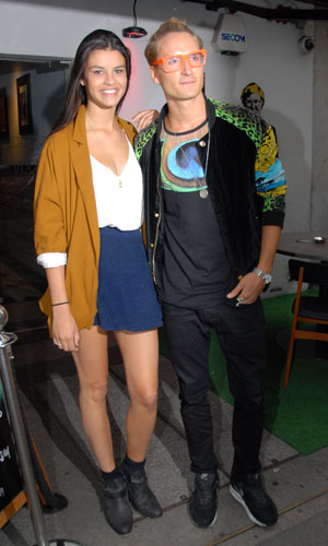 Celebrities attend the Fiona Culley showcase held at the Voodoo Vaults Embassy. Andy Jordan debuts his singing career with Fiona Culley. Pictured: Oliver Proudlock and girlfriend Grace McGovern Credit : Joe Alvarez