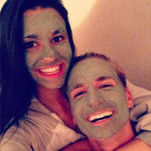 Proudlock enjoys a face mask with girlfriend Grace McGovern