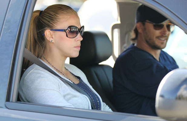 Kevin Federline and his pregnant girlfriend Victoria Prince leaving the softball park after watching Federline's son Sean Preston Federline playing for his local kids team, 2011