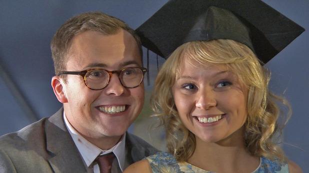 Hollyoaks, Dennis stages a graduation, Tue 27 Aug