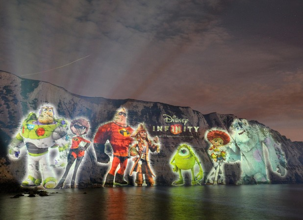 Buzz Lightyear and co were projected onto the White Cliffs of Dover