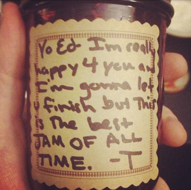 Ed Sheeran gives homemade jam to Ed Sheeran - makes fun of Kanye West on the label - 19 August 2013