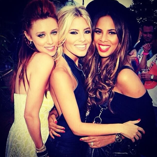 Mollie King, Una Healey and Rochelle Humes pose together at V Festival - 21 August 2013
