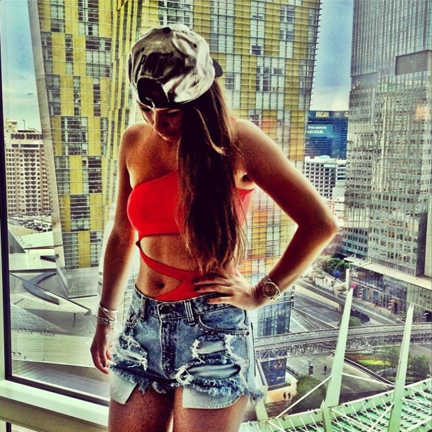 Brooke Vincent posts sexy photo of cutaway swimsuit and cutaway denim shorts on Instagram, Aug 24 2013