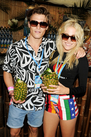 Pixie Lott and Oliver Chesire in the Mahiki Coconut Backstage Bar