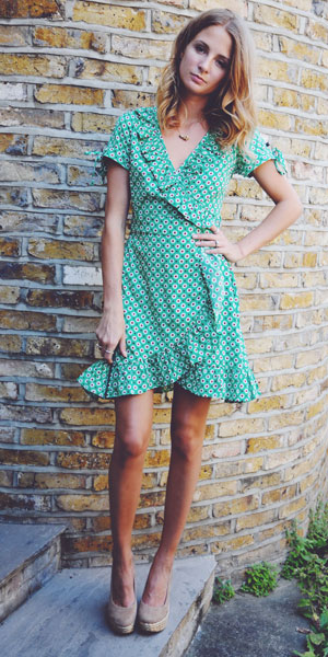 Millie Mackintosh in green dress on her style blog 22/08/13