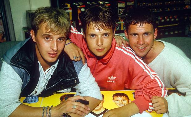 NEW BOY BAND '911' - 1996 JIMMY CONSTABLE, LEE BRENNAN AND SPIKE DAWBARN