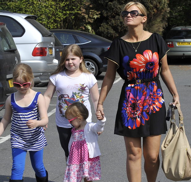 Kerry Katona takes her children Molly, Heidi and Lilly-Sue for a very late lunch at the Beefeater Restaurant in Godstone, Surrey. Surrey, England - 24.04.10