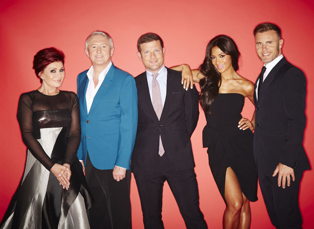 Dermot O'Leary, Gary Barlow, Sharon Osbourne, Nicole Scherzinger and Louis Walsh - The X Factor