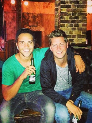 Made In Chelsea's Andy Jordan and Stevie Johnson after a day of filming