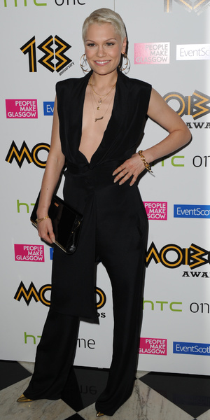 Jessie J in a plunging jumpsuit