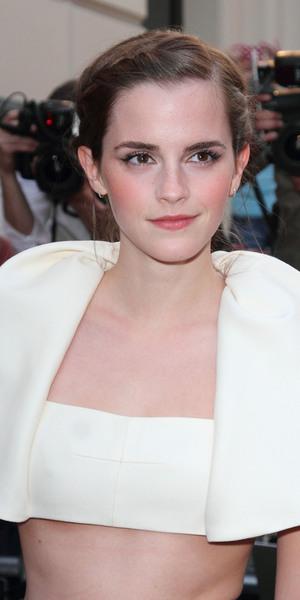 Emma Watson in an unusual cream cropped top