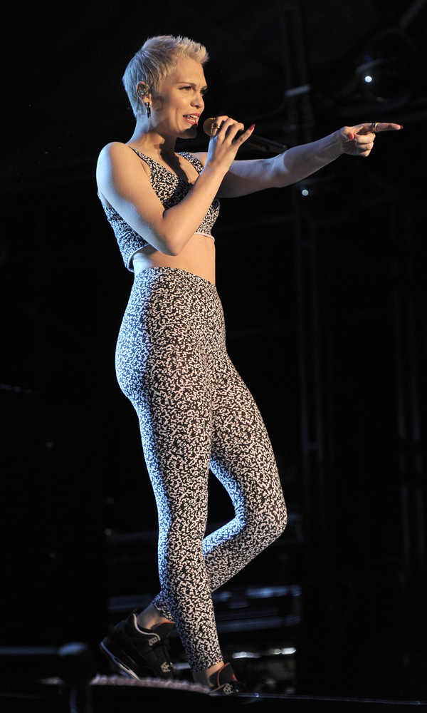Jessie J performs at The Fusion Festival wearing a black and white crop top and leggings - Birmingham, 31st August 2013.