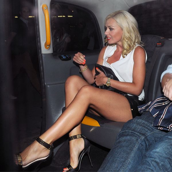 Katherine Jenkins in a taxi after leaving STK restaurant in London - 31st August 2013