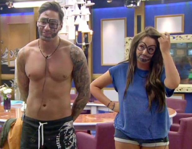 Mario Falcone and Charlotte Crosby with graffiti on their faces 31 Aug 2013