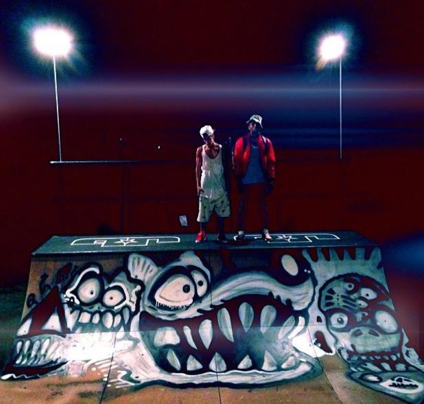 Chris Brown spray paints Justin Bieber's half pipe - 5 September 2013