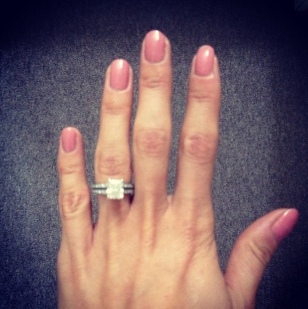 Millie Mackintosh shows off her pink nails using Essie Nail Polish in Eternal Optimist, Instagram, 3 September 2013
