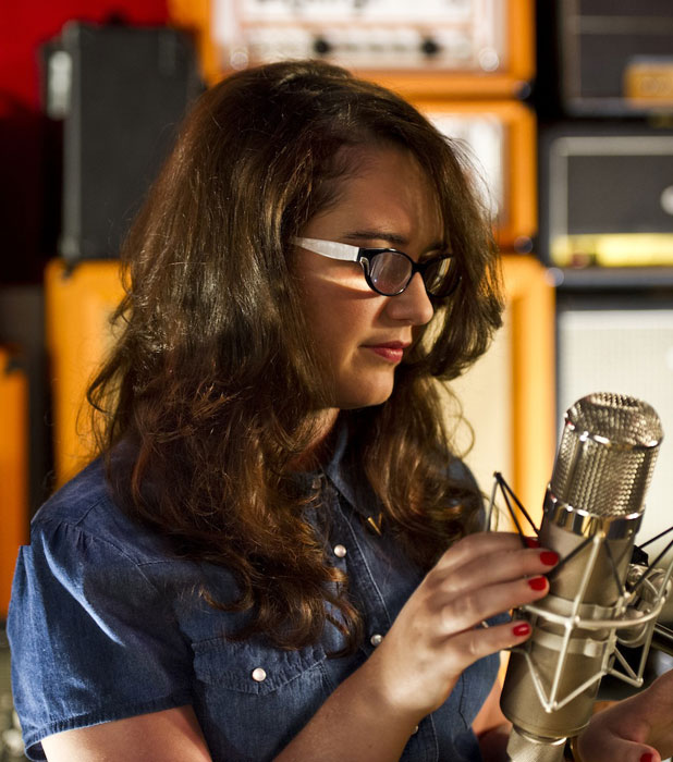 Andrea Begley in the recording studio working on first album The Message, September 2013