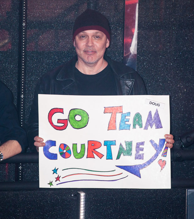 Doug Hutchison in the crowd at the second Celebrity Big Brother eviction, 30 August 2013