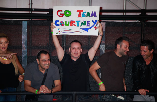 Doug Hutchison in the crowd at the third Celebrity Big Brother eviction, 4 September 2013