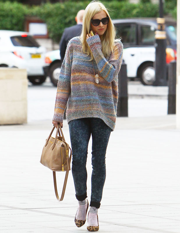 Fearne Cotton arrives at the BBC Radio 1 studio where she will co-present the Breakfast Show on her first day back after giving birth to baby Rex, 2 September