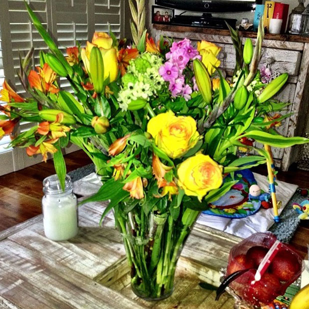 Imogen Thomas receives flowers from her boyfriend, 2013