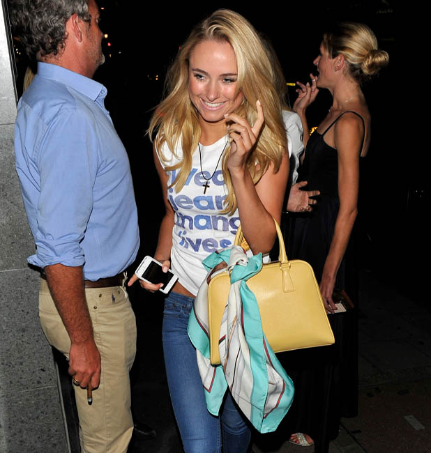Kimberley Garner from Made in Chelsea arriving at The May Fair Bar wearing a Jeans for Genes T-shirt Person In Image:Kimberley Garner Credit : Stuart Castle/WENN.com
