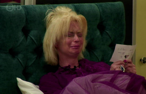 Celebrity Big Brother. Shown on Channel 5HD Lauren Harries is seen crying after nominations where shown to the whole house 09/03/2013