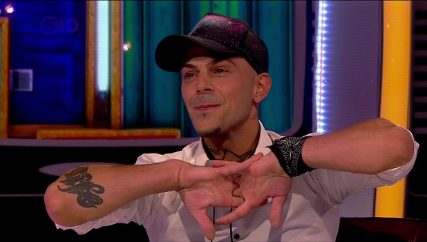 Abz Love is interviewed by host Emma Griffith after coming 2nd in 2013's CBB final