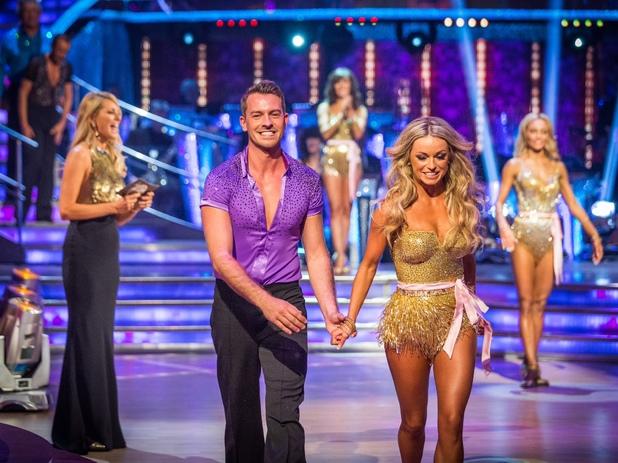 Strictly Come Dancing BBC One Picture shows: Tess Daly, Ashley Taylor Dawson, Ola JordanAshley Taylor Dawson and Ola Jordan