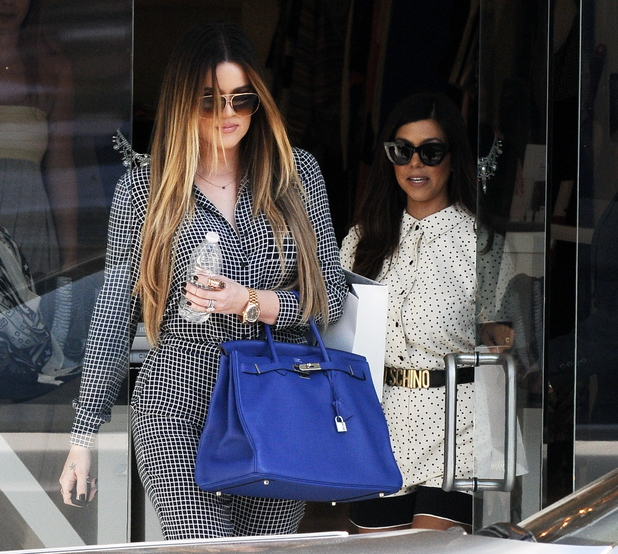 Kourtney and Khloe Kardashian filming their show 'Keeping Up with the Kardashians' on Melrose Avenue - 9.9.2013